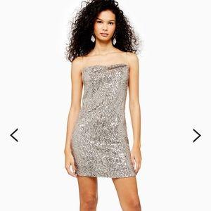 Topshop Dresses - Topshop Sequined Cowl Mini Dress